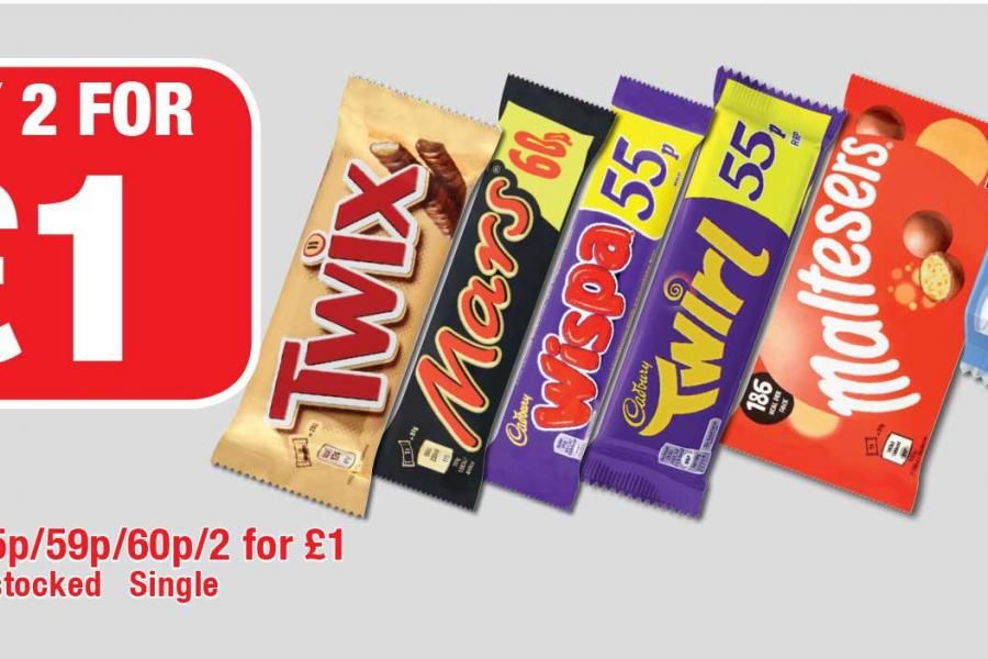 Any 2 for £1 on Selected Confectionery at Family Shopper