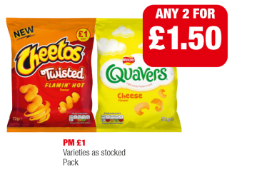 Cheetos Twisted Flamin Hot, Walkers Quavers, Varieties as stocked - PM £1 - Any 2 for £1.50 at Family Shopper