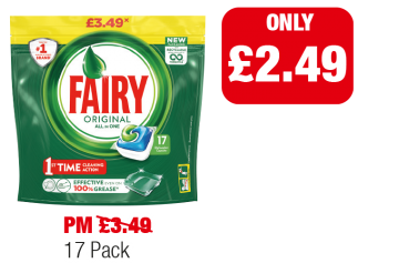 Fairy Original All In One Pods - Was PM £3.49 - Now only £2.49 at Family Shopper