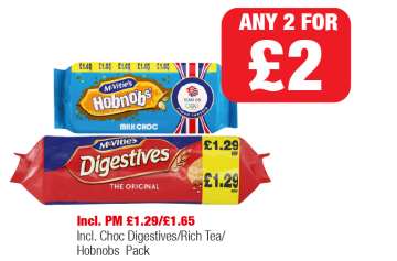 McVitie's Milk Choc Hobnobs, The Original Digestives Incl. Choc Digestives/Rich Tea/Hobnobs - PM £1.29/£1.65 - Any 2 for £2 at Family Shopper