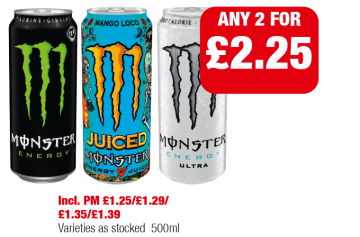 Monster Energy, Mango Loco, Ultra, Varieties as stocked - Any 2 for £2.25 at Family Shopper