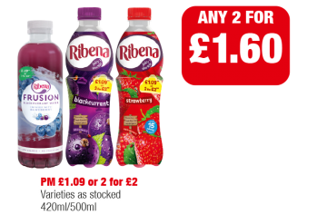 Ribena Frusion Blueberry, Ribena Blackcurrant, Strawberry, Varieties as stocked - PM £1.09 or 2 for £3 - Any 2 for £1.60 at Family Shopper