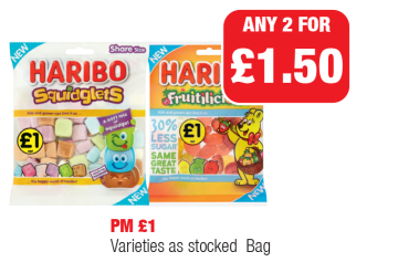Haribo Squidglets, Fruitilicious, PM £1 - Any 2 for £1.50 at Family Shopper