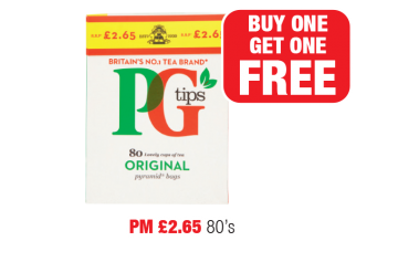 PG Tips, PM £2.65  - Buy one get one free  at Family Shopper