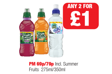 Robinsons Fruit Shoot Apple & Blackcurrant, Orange, Hydro Blackcurrant - PM 69p/79p - Any 2 for £1 at Family Shopper