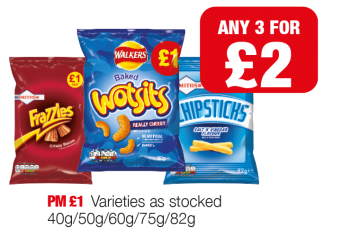 Frazzles, Walkers Wotsits, Chipsticks - PM £1 - Any 2 for £2 at Family Shopper