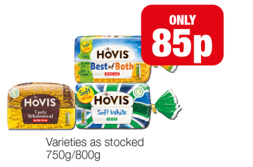 Hovis Best of Both Medium, Tasty Wholemeal Medium, Soft White Thick - Now only 85p at Family Shopper