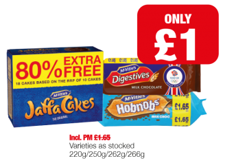 McVities Jaffa Cakes, Digestives Milk Chocolate, Hobnobs Milk Chocolate - Was PM £1.65 - Now only £1 each at Family Shopper