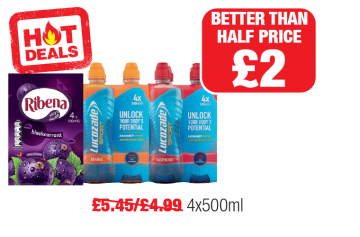 HOT DEALS: Ribena Blackcurrant Multipack, Lucozade Sport Orange, Raspberry - Was £5.45, £4.99 - Better than Half price £2 at Family Shopper