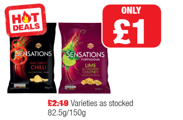 HOT DEALS: Walkers Sensations Thai Sweet Chilli, Lime and Coriander Chutney - Was £2.19 - Now only £1 at Family Shopper