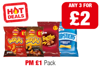 HOT DEALS: Walkers Flamin Hot Wotsits, Sizzling Steak Wotsits, Frazzles, Chipsticks - PM £1 - Any 2 for £2 at Family Shopper