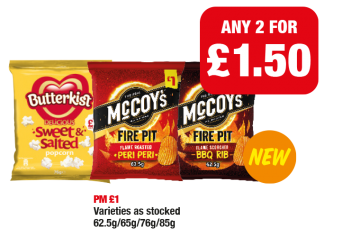 Butterkist Sweet & Salted Popcorn, McCoy's Fire Pit Flame Roasted Peri Peri, Flame Scorched BBQ Rib - PM £1 - Any 2 for £1.50 at Family Shopper