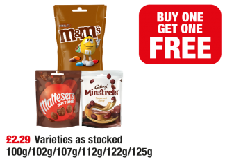 M&M's Chocolate, Maltesers Buttons, Galaxy Minstrels - Buy One Get 1 Free at Family Shopper