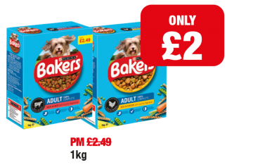 Purina Bakers Adult Dog Food Beef, Chicken - Was PM £2.49 - Now only £2 each at Family Shopper