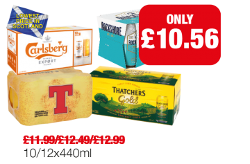 SCOTLAND & WALES ONLY: Tennents, Thatcher's Gold, Rockshore Irish Lager, Carlsberg Export - Now £10.56 each at Family Shopper