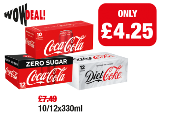 WOW DEAL: Coca Cola, Coca Cola Zero, Diet Coke, was £7.49 - Now only £4.25 at Family Shopper