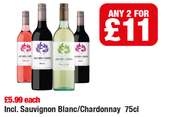 Jacobs Creek Wine Shiraz Rose, Merlot, Pinot Grigio, Shiraz, Incl. Sauvignon Blanc/Chardonnay, £5.99 each - Any 2 for £11 at  Family Shopper
