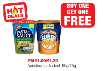 HOT DEALS: Batchelors Pasta 'n' Sauce Cheese & Broccoli, Chicken Super Noodles - PM £1.09/£1.20 - Buy One Get One Free at Family Shopper