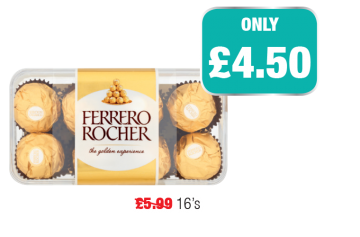 GREAT PRICES ALL WINTER: Ferrero Rocher, Was £5.99 - Only £4.50 at Family Shopper