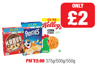 Kelloggs Krave, Frosties, Cornflakes, PM Was £2.99 - Now only £2 at Family Shopper