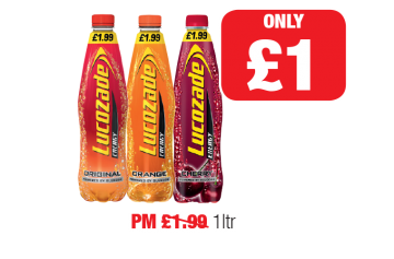 Lucozade Energy Original, Orange, Cherry - PM Was £1.99 - Now only £1 at Family Shopper