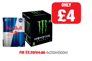 Red Bull, Monster Energy - PM Was 4.59/£4.89 - Now only £4 at Family Shopper