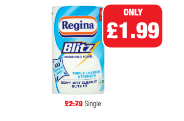 Regina Blitz Kitchen Towel, Was £2.79 - Now only £1.99 at Family Shopper