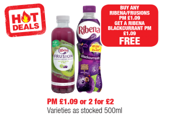 HOT DEALS: Buy any Ribena/Frusions, PM £1.09, get a Ribena Blackcurrant, PM £1.09 FREE at Family Shopper
